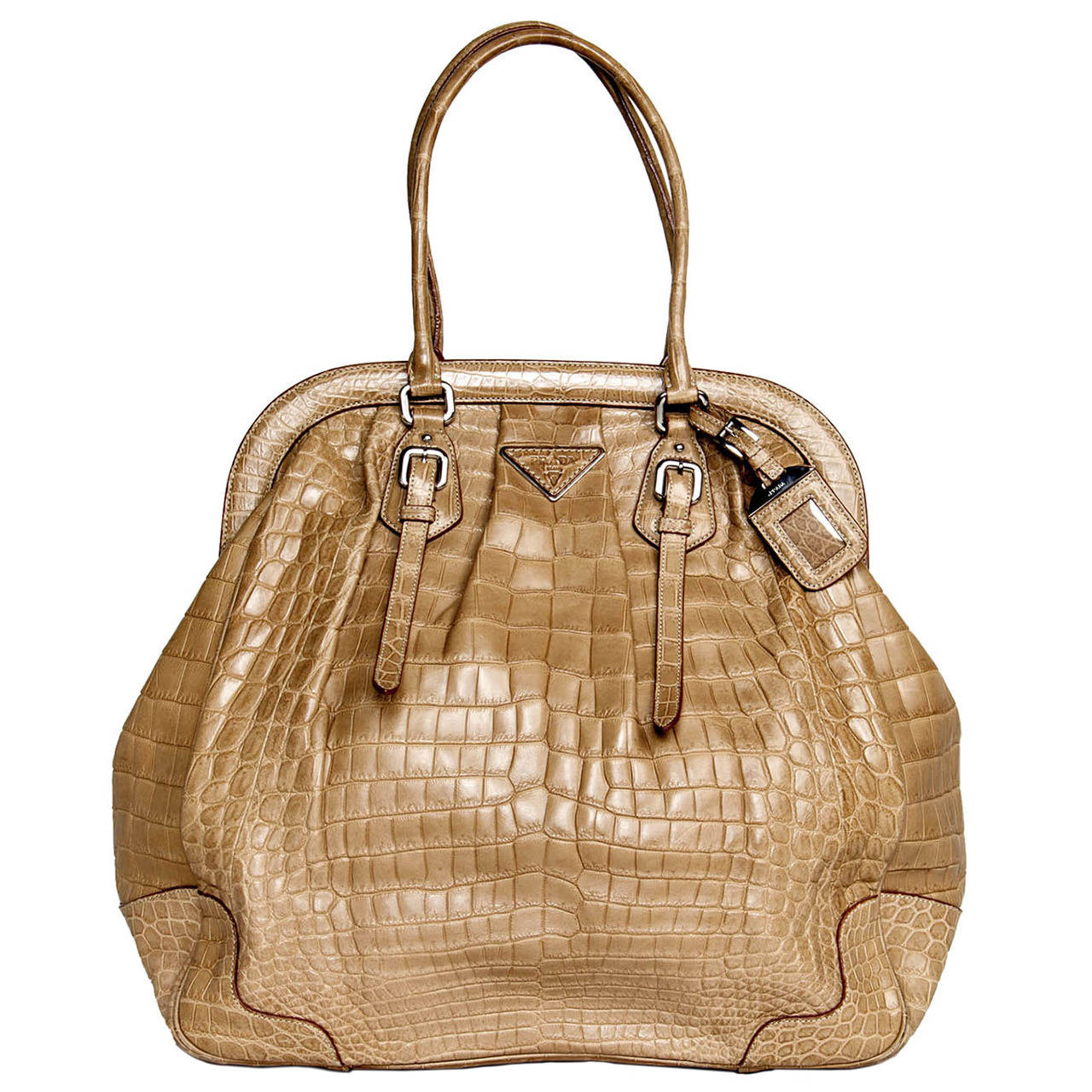 Prada Large Frame Light brown Crocodile Bag For Sale