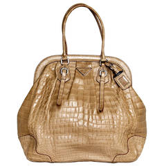 Prada Large Frame Light brown Crocodile Bag