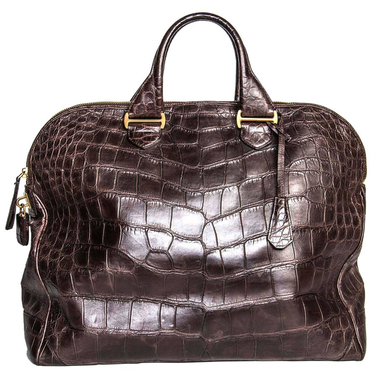 Tom Ford Chocolate Brown Crocodile Oversized Bag