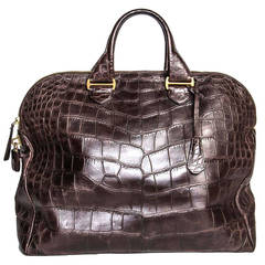 Tom Ford Schokoladenbraune übergroße Krokodil Tasche