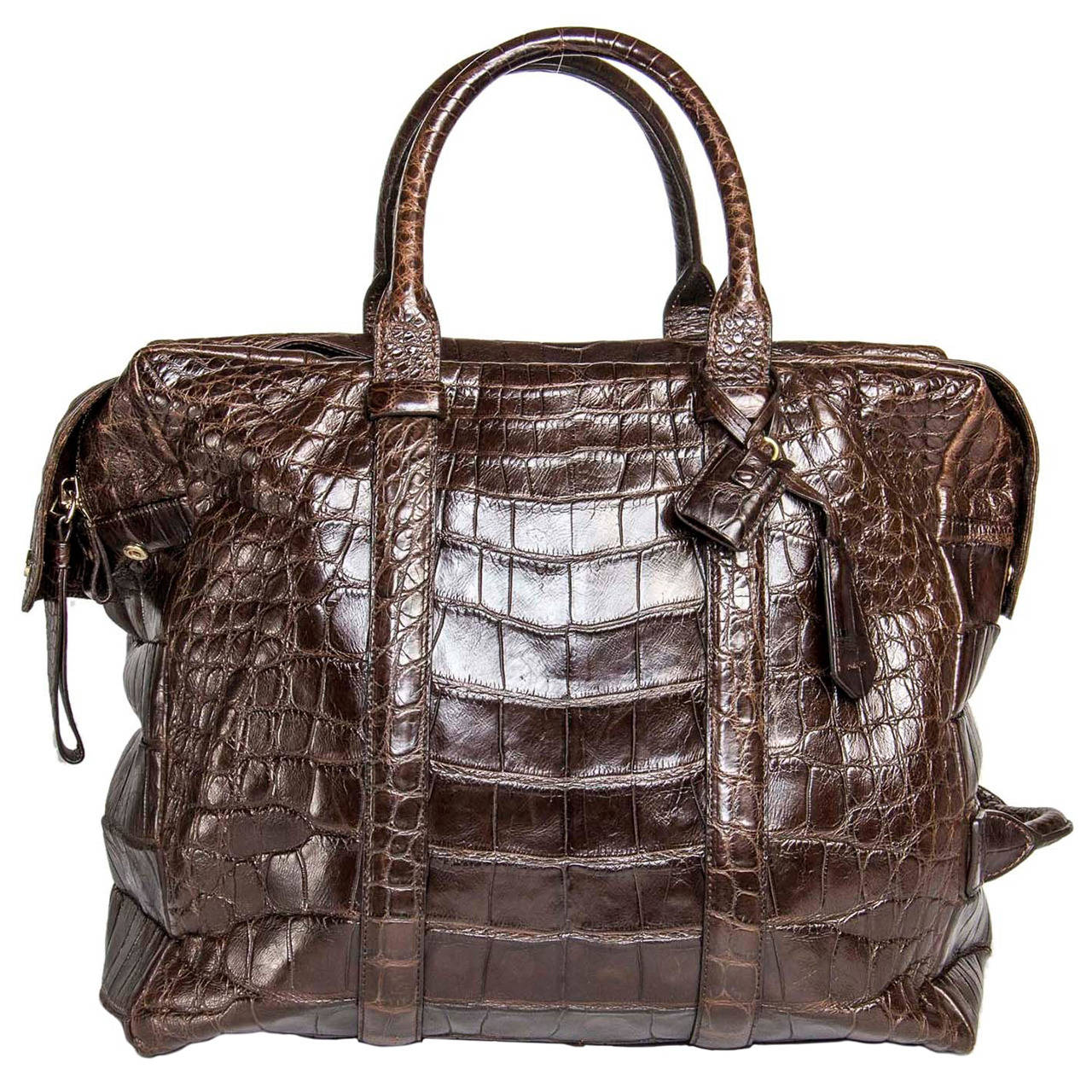 Tom Ford Chocolate Brown Crocodile Oversized Bag For Sale