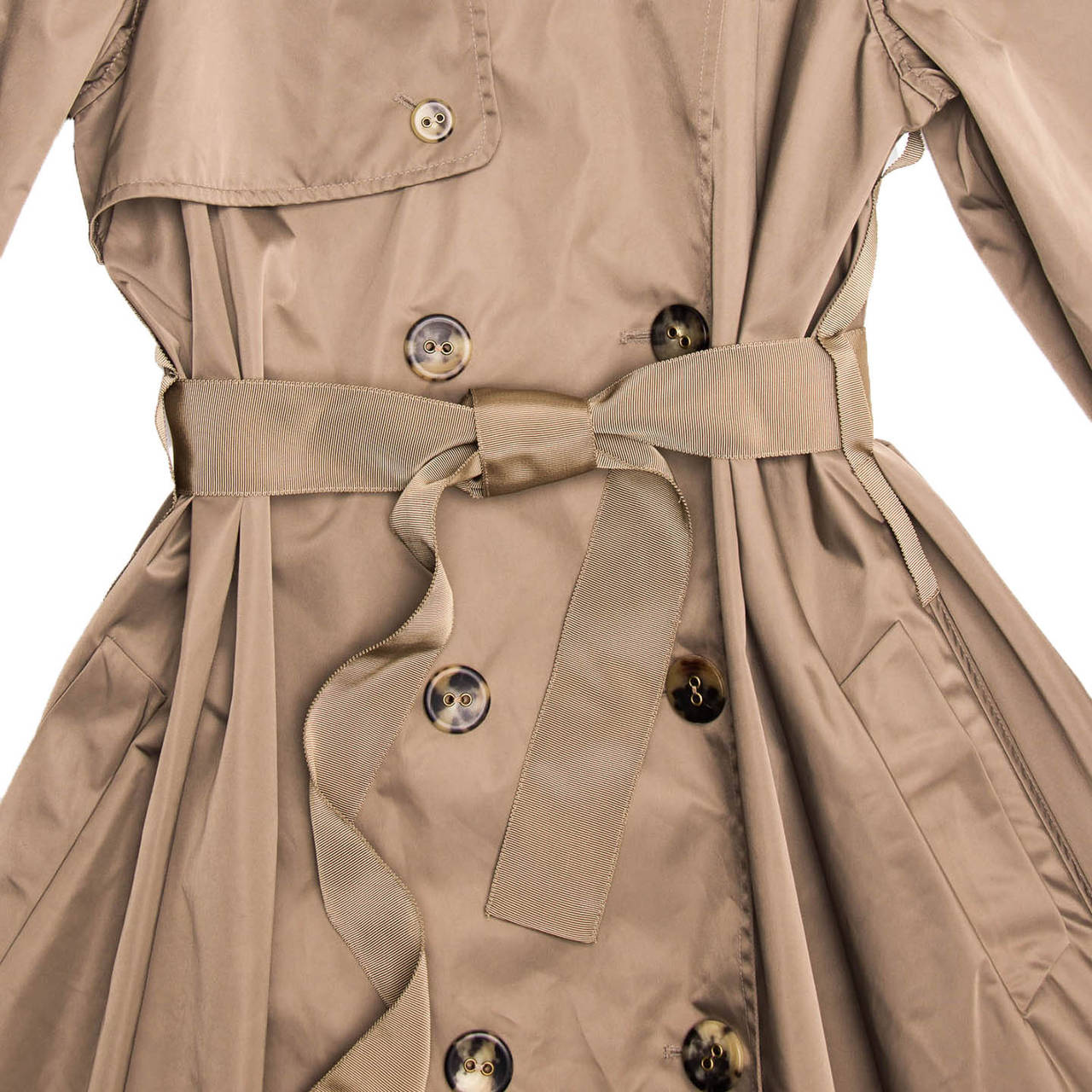 Lanvin Coat - 2008 Taupe Bell Shape Raincoat With Ribbon Belt 2