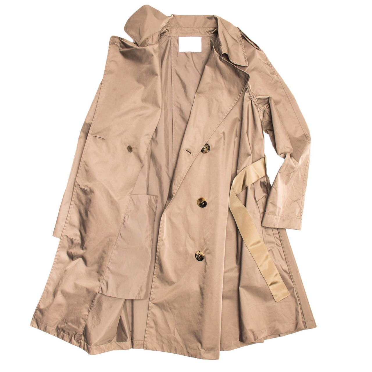 Lanvin Coat - 2008 Taupe Bell Shape Raincoat With Ribbon Belt 4