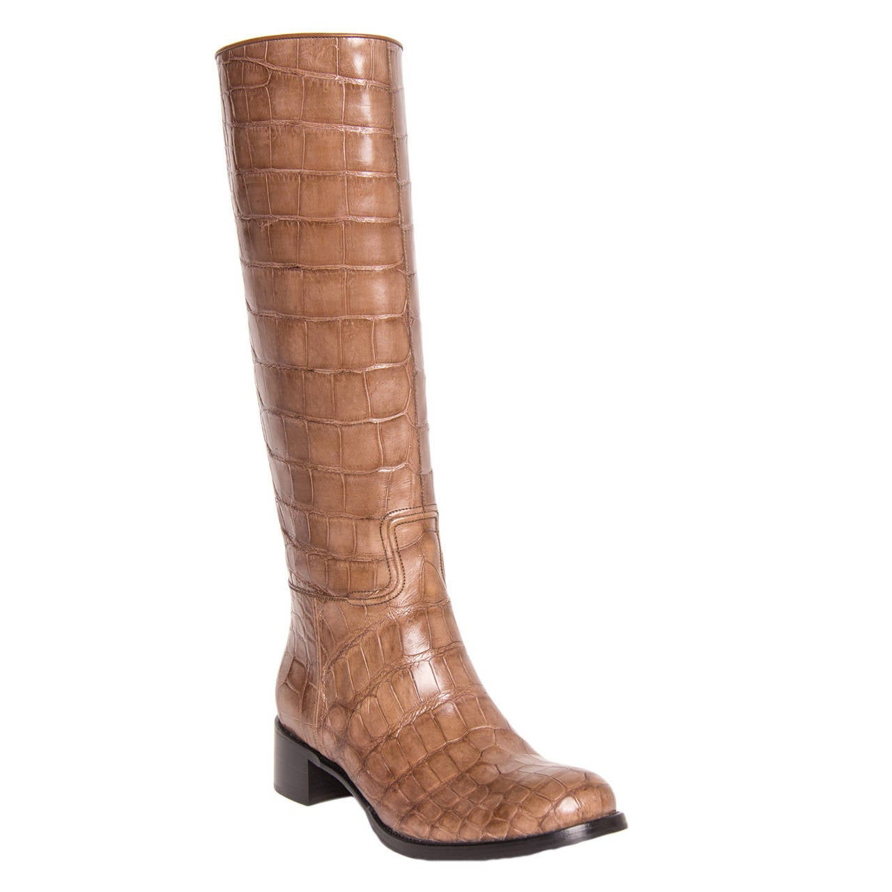 prada light brown crocodile knee high boots for sale at