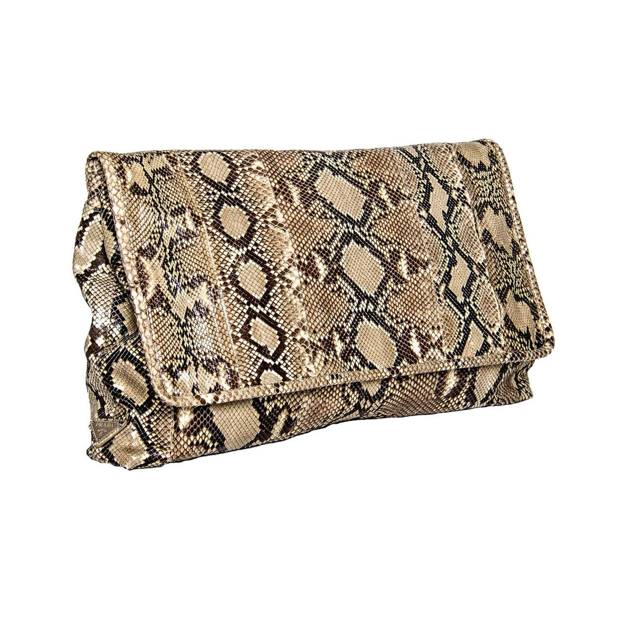 e38f639daa Chocolate brown and beige python large clutch bag with self-fabric binding  to cover the