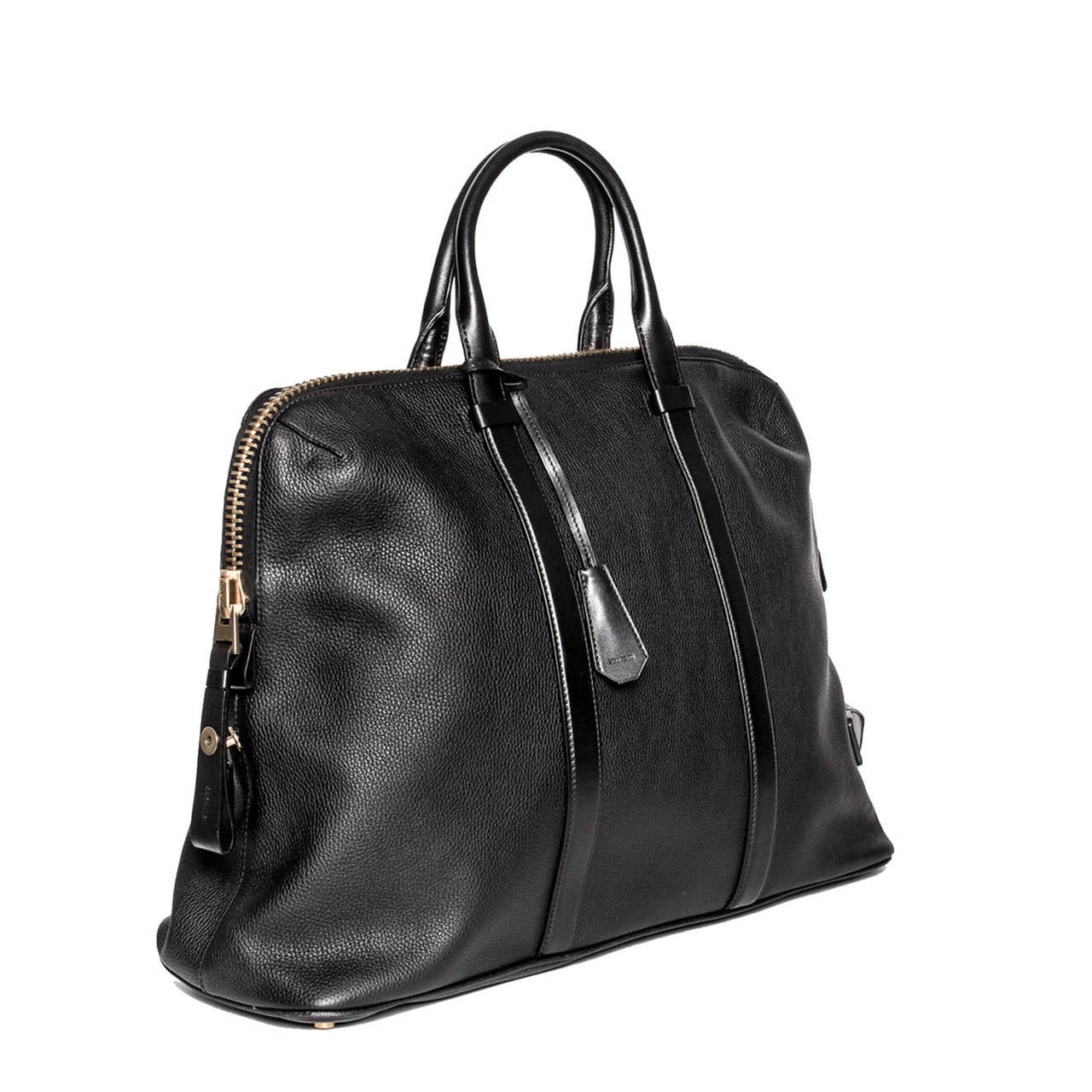 Tom Ford Black Leather Oversize/Travel Bag In New Never_worn Condition For Sale In Brooklyn, NY