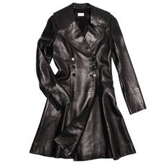 Alaïa Black Leather Coat With Flare