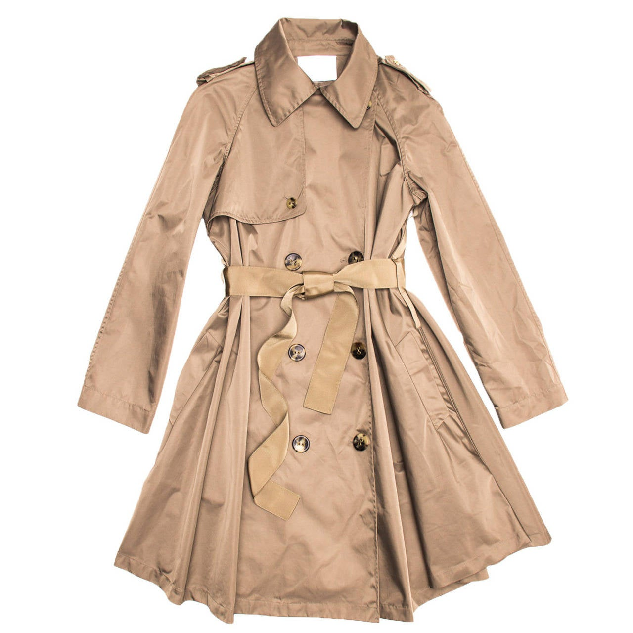 Lanvin Coat - 2008 Taupe Bell Shape Raincoat With Ribbon Belt