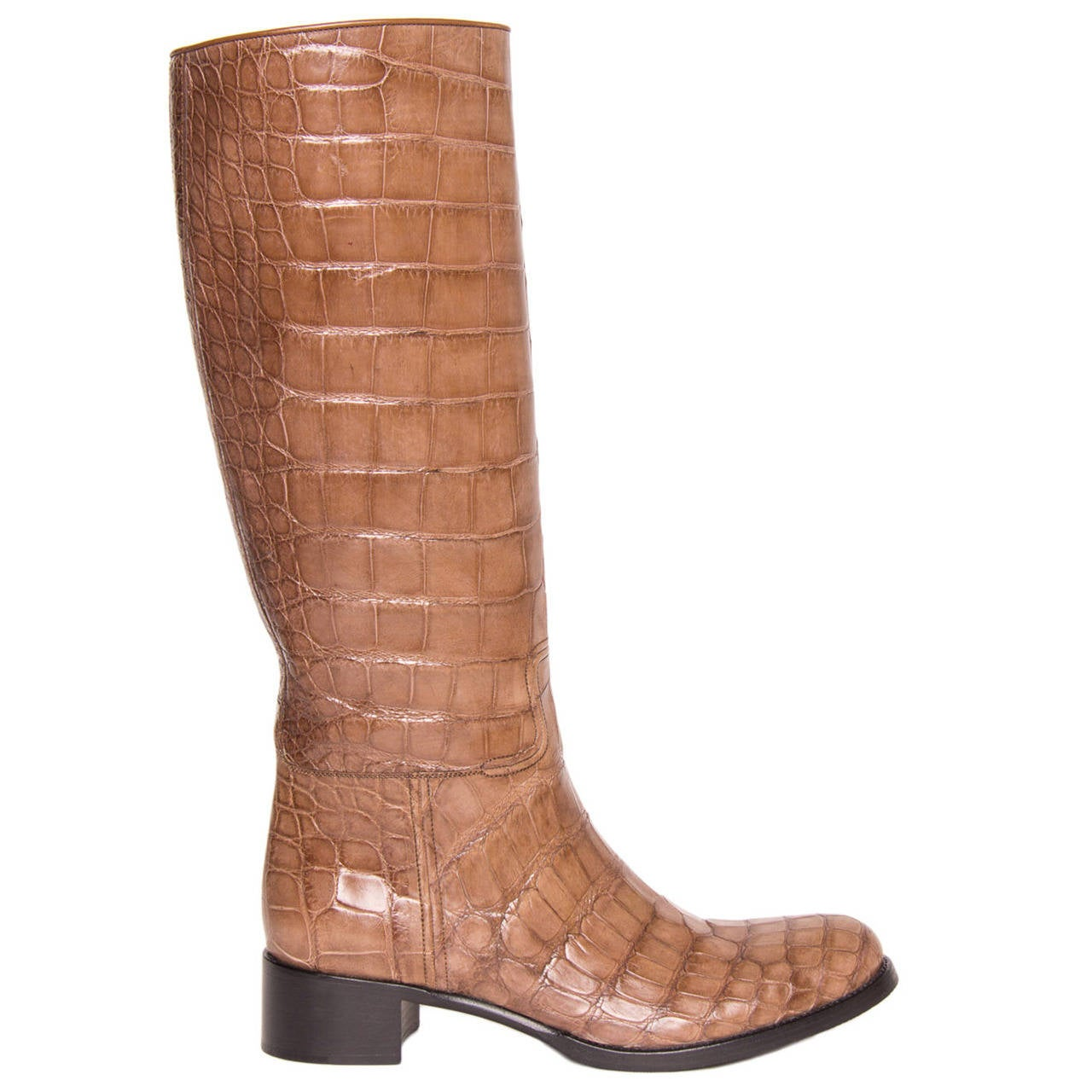 Prada Light Brown Crocodile Knee High Boots