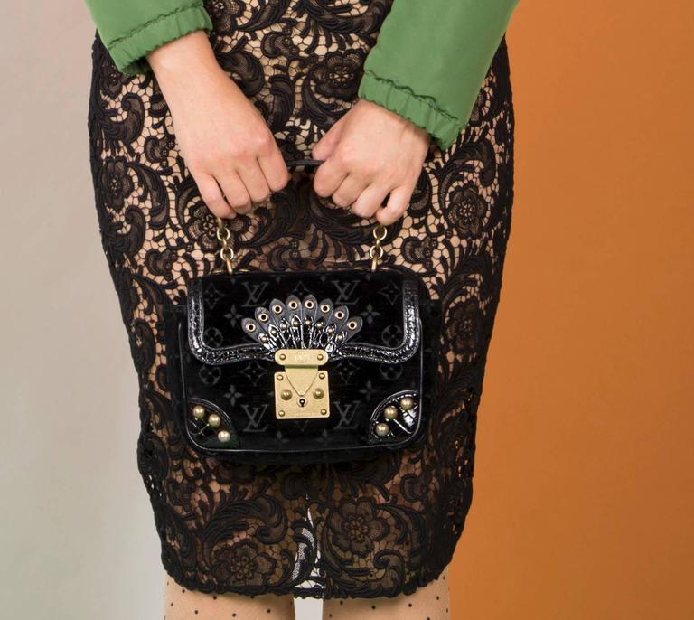 Louis Vuitton Black Velvet & Crocodile Small Bag 5