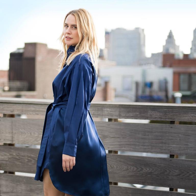Yves Saint Laurent Royal Blue Silk & Cotton Shirt Dress 4