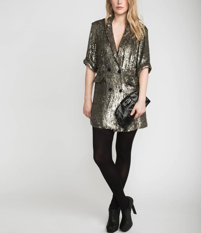 Phillip Lim Silver Sequin Dress Coat For Sale 1