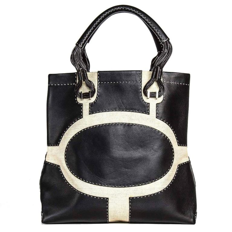 VBH Black Leather & Canvas Bag In New Never_worn Condition For Sale In Brooklyn, NY