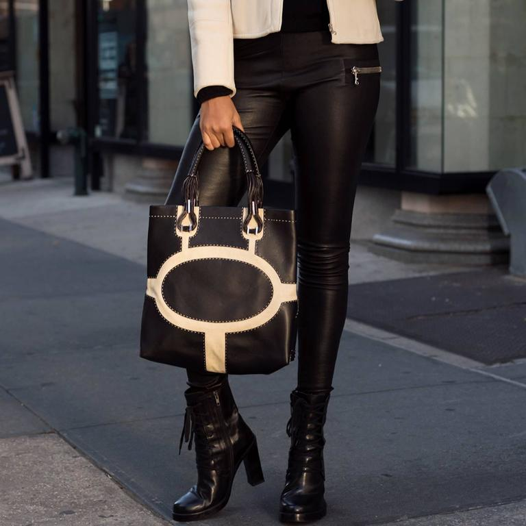 VBH Black Leather & Canvas Bag For Sale 2