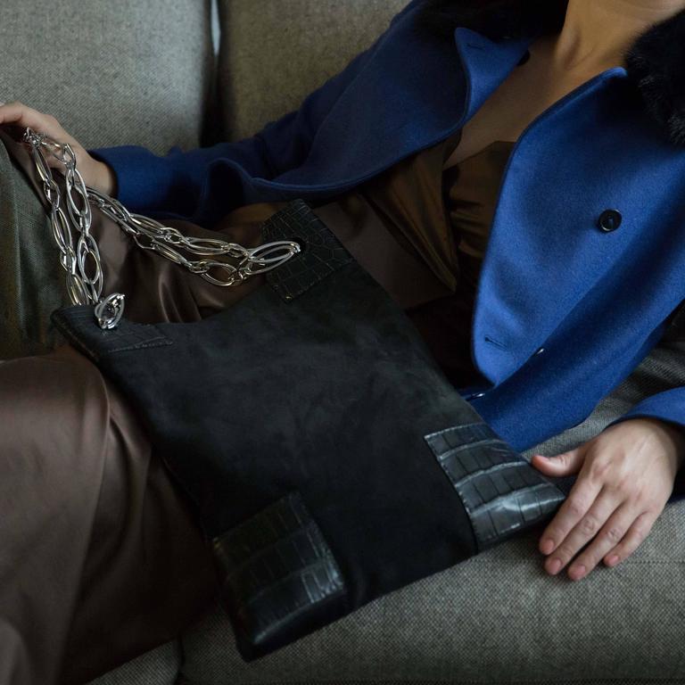 VBH Black Suede & Crocodile Bag For Sale 1