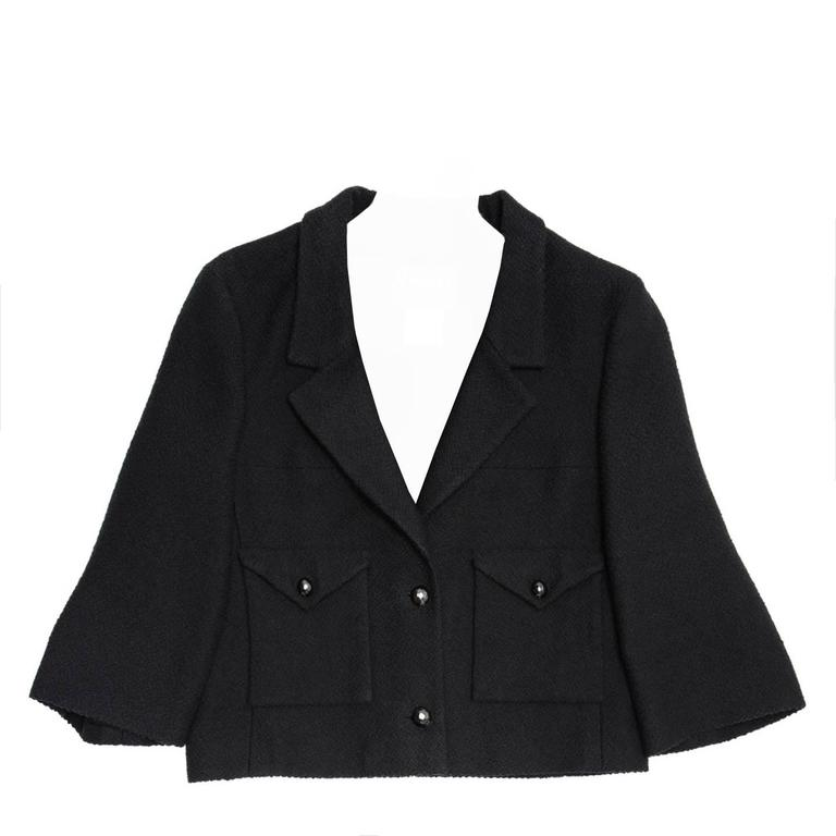 Chanel Black Cotton and Silk  3/4 Sleeve Cropped Jacket 1