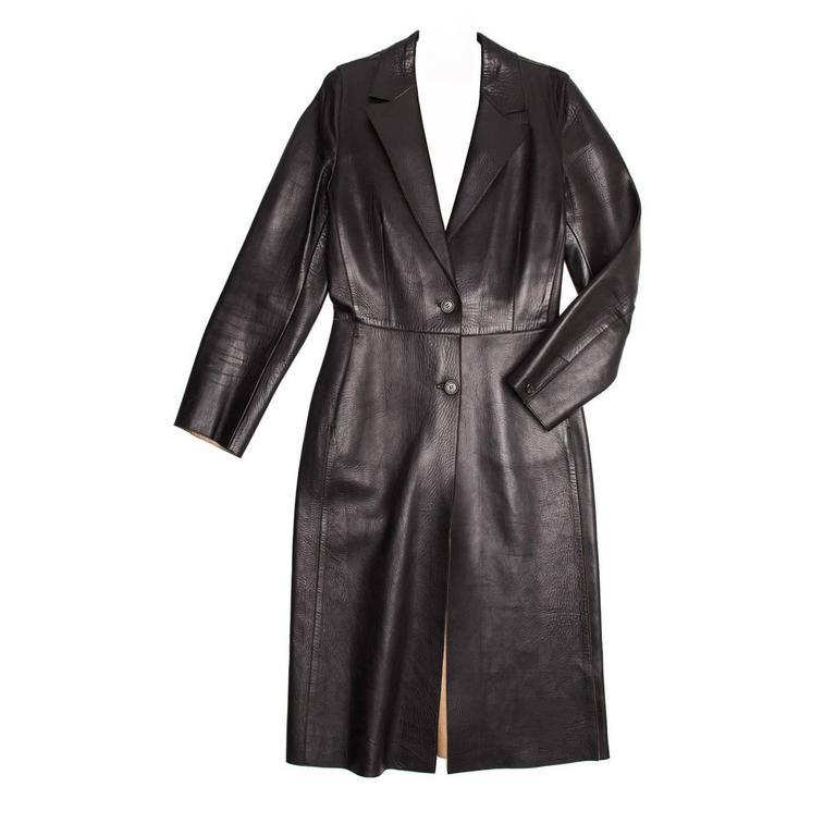Prada Black Leather 2 Buttons Coat