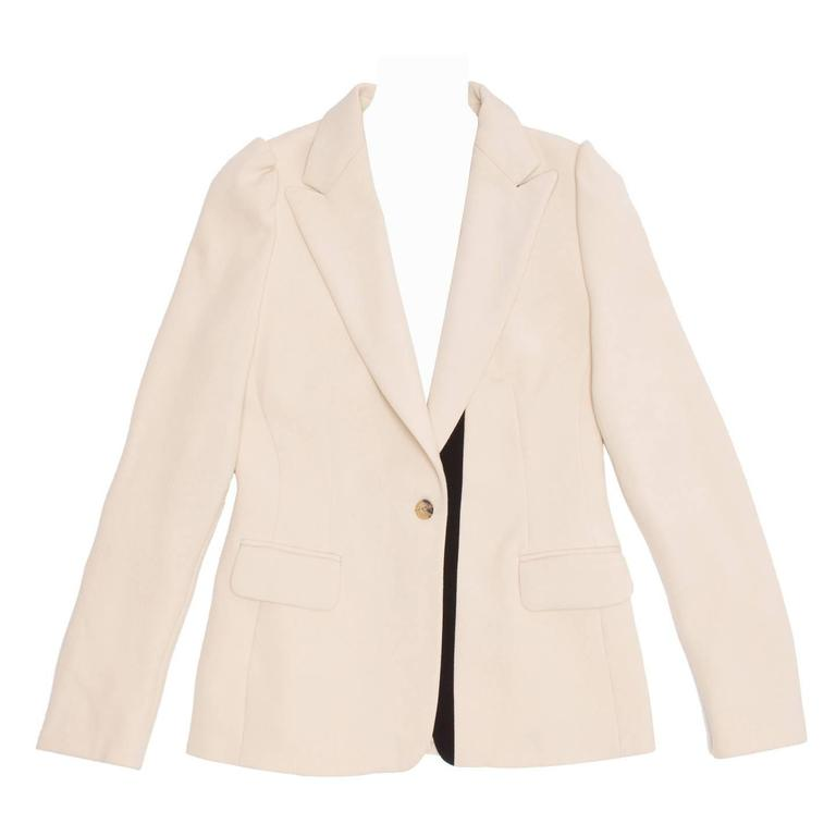 Dries Van Noten Cream & Black Wool Blazer
