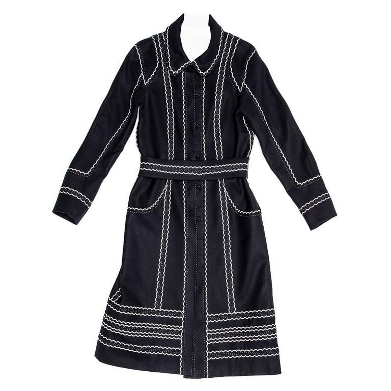 Louis Vuitton Dark Blue & White Cotton Coat