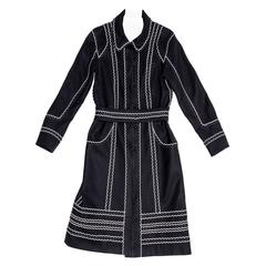Louis Vuitton Dark Blue & White Cotton Coat