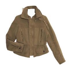Celine Green Brown Canvas Jacket