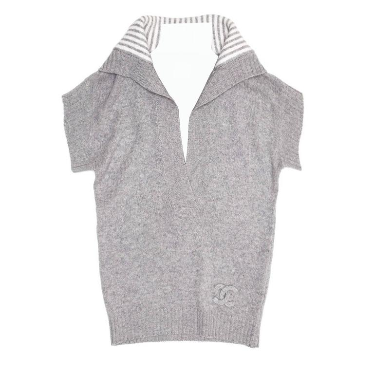 Chanel Grey Cashmere Short Sleeved Sweater