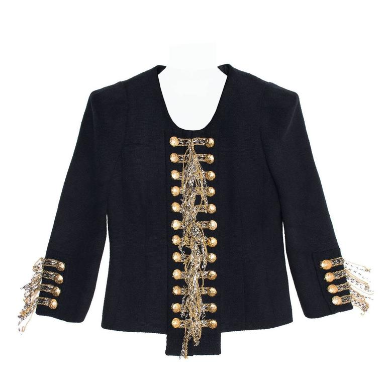 Balmain Navy & Gold Cropped Jacket 1