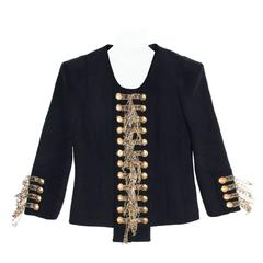 Balmain Navy & Gold Cropped Jacket