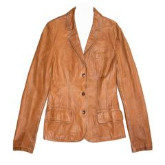 Jil Sander Tan Leather Blazer