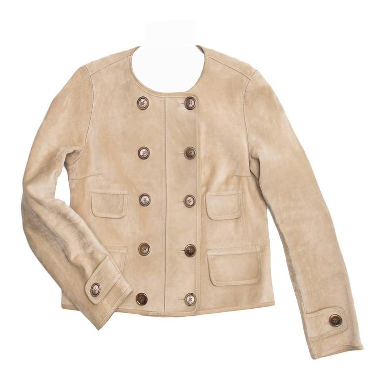 f9bf0d2239cc Louis Vuitton Tan Suede Cropped Jacket For Sale at 1stdibs