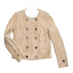 Louis Vuitton Tan Suede Cropped Jacket