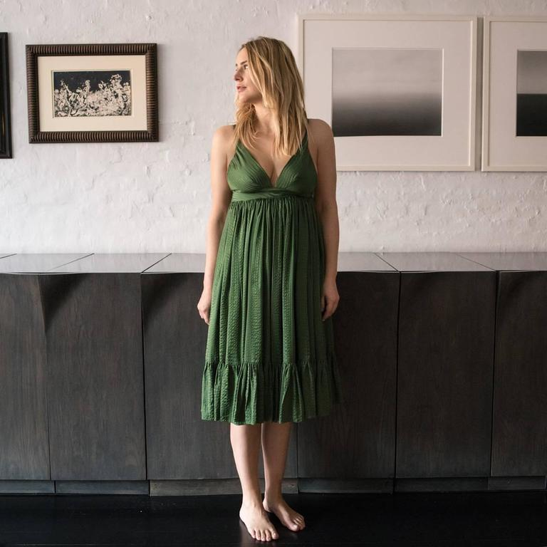 Balenciaga Green Silk Long Dress For Sale 1
