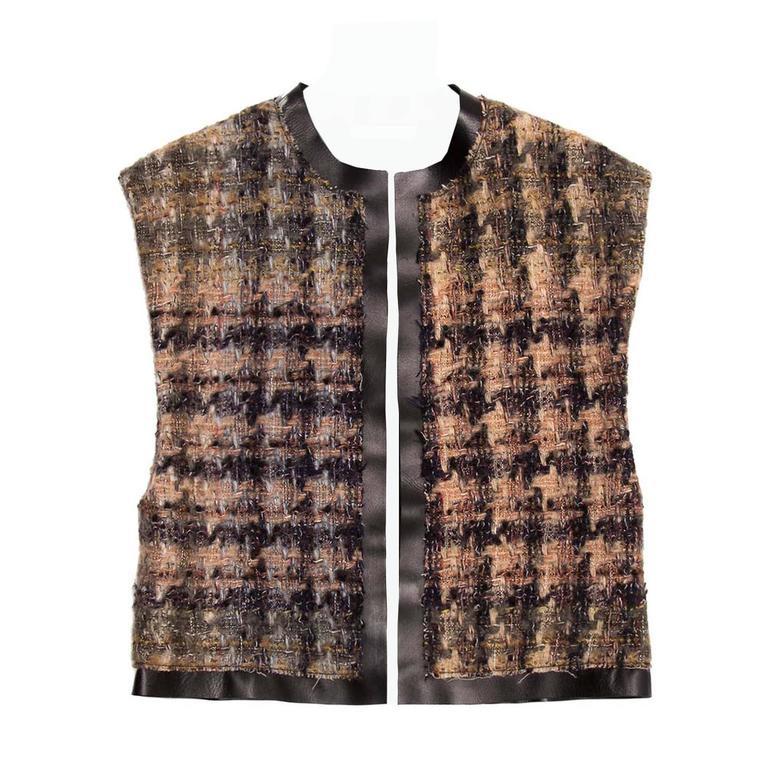 Celine Brown Shades Wool & Leather Vest