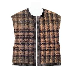 Celine Brown Shades Wool & Leather Vest