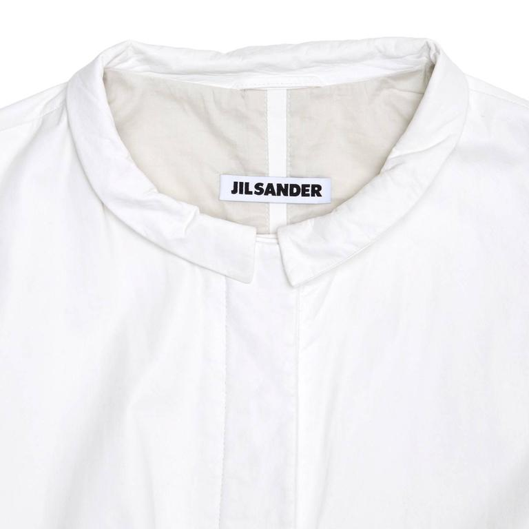Women's Jil Sander White Leather Bomber Jacket For Sale
