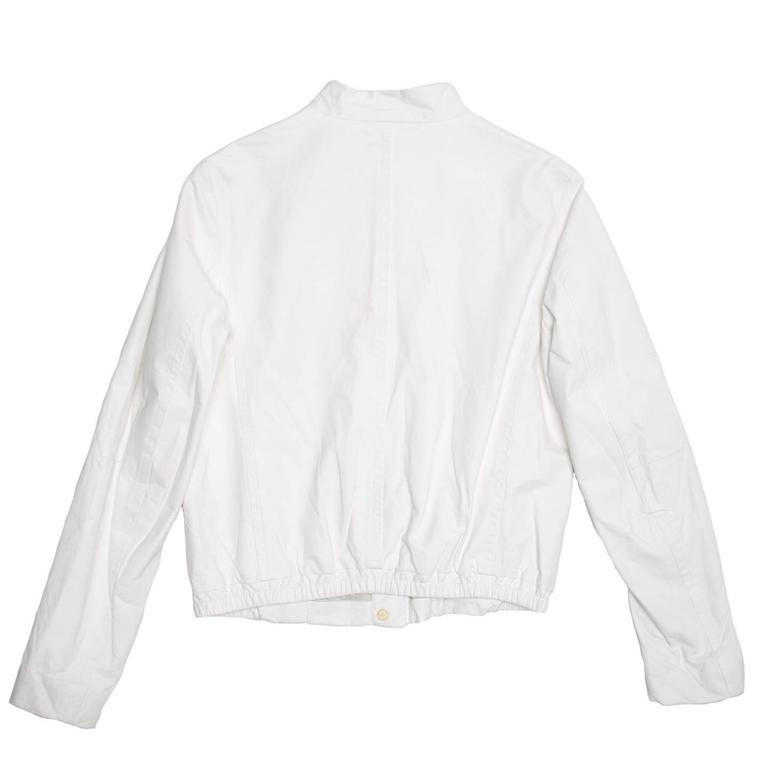 Gray Jil Sander White Leather Bomber Jacket For Sale