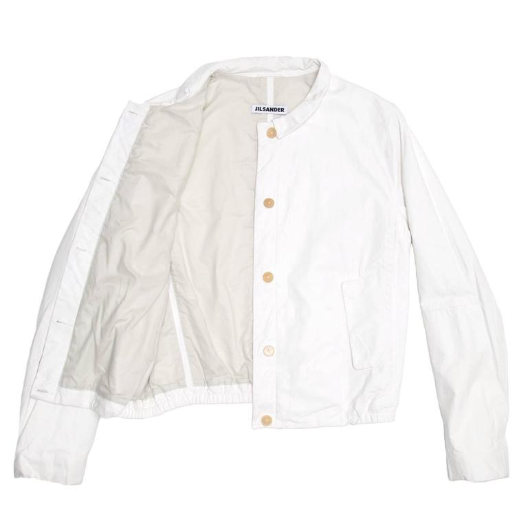 Jil Sander White Leather Bomber Jacket In New Never_worn Condition For Sale In Brooklyn, NY