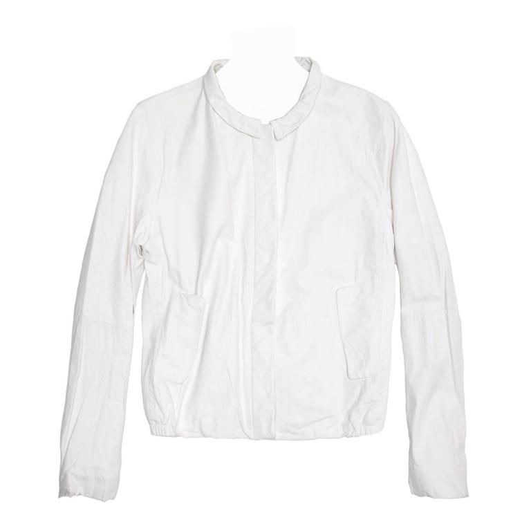Jil Sander White Leather Bomber Jacket