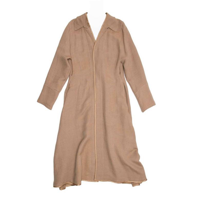 Undercover Bronze & Beige Woven Duster Coat For Sale