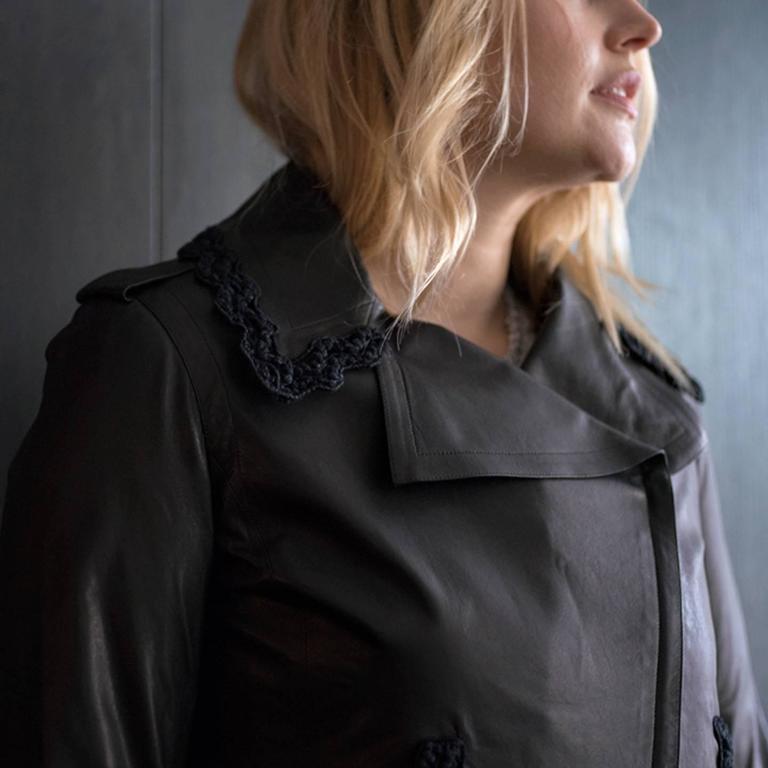 Chanel Black Leather & Lace Moto Style Jacket 6