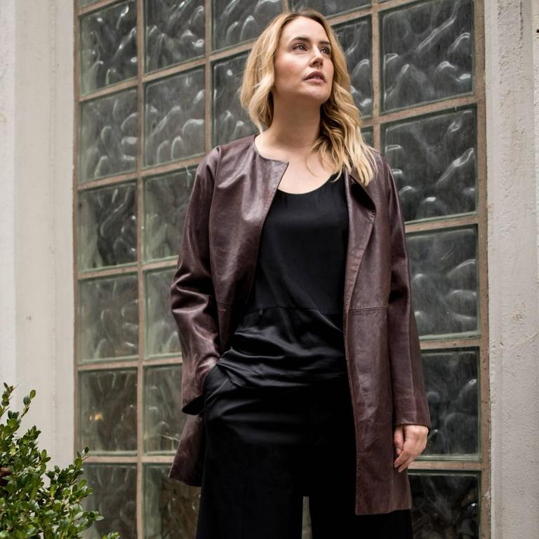 Balenciaga Brown Leather Collarless Coat For Sale 1