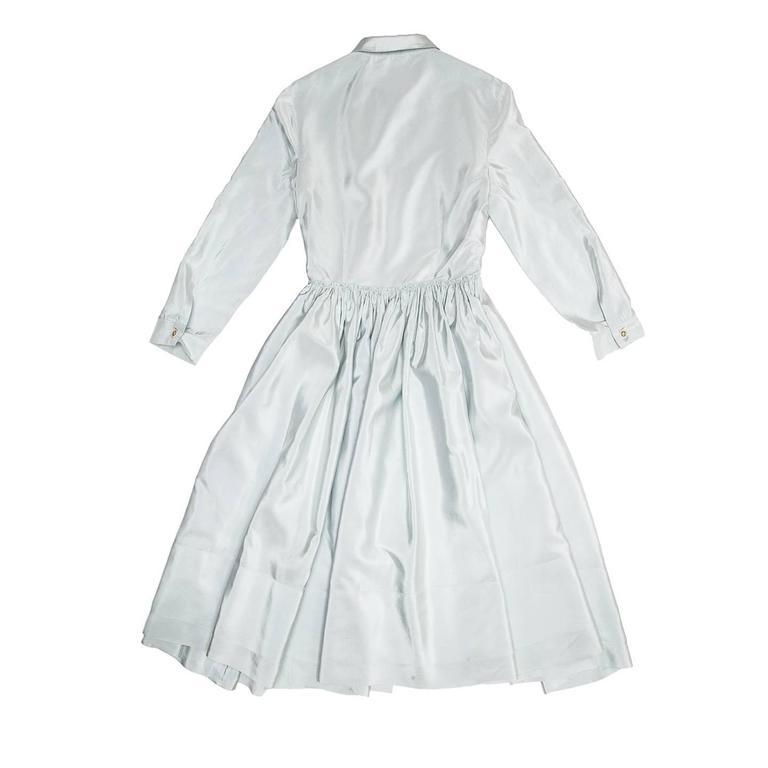 Prada Sky Blue Silk Shirt Dress 3