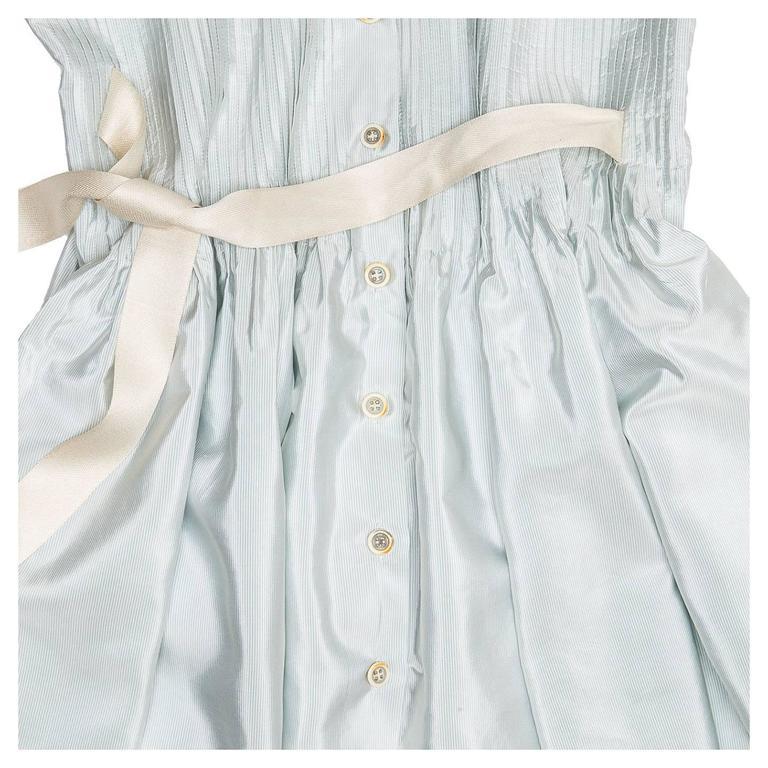 Prada Sky Blue Silk Shirt Dress 5