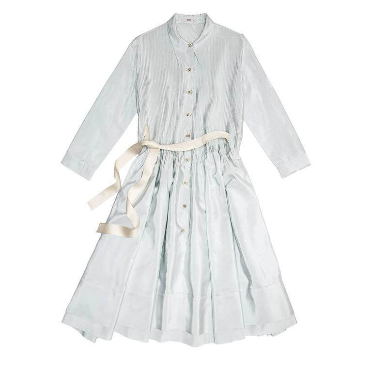 Prada Sky Blue Silk Shirt Dress 2