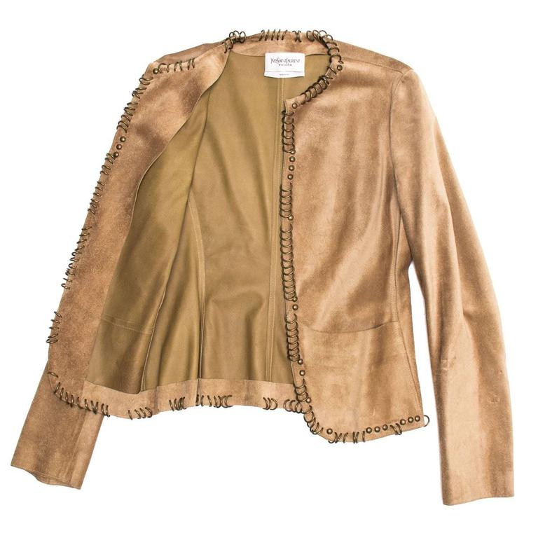 Brown Yves Saint Laurent Tan Suede Jacket With Rings For Sale