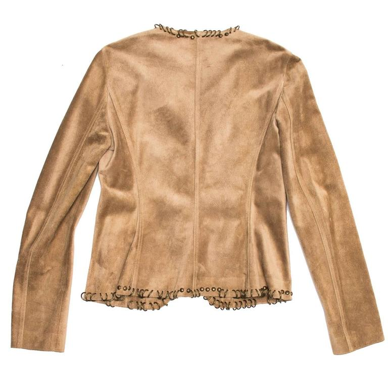 Women's Yves Saint Laurent Tan Suede Jacket With Rings For Sale