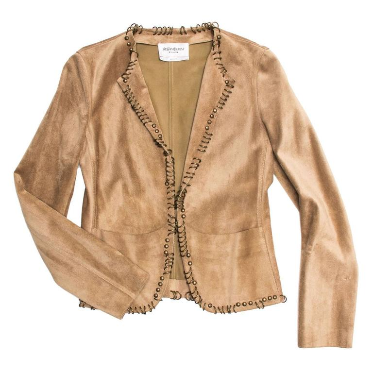 Yves Saint Laurent Tan Suede Jacket With Rings In Excellent Condition For Sale In Brooklyn, NY