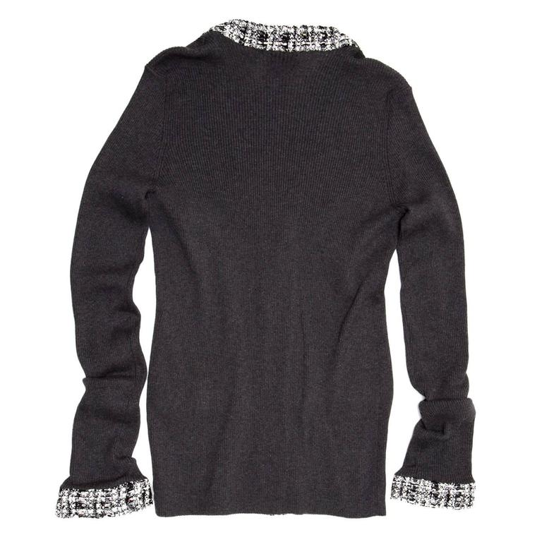 Black Chanel Grey Cotton and Tweed Long Cardigan For Sale