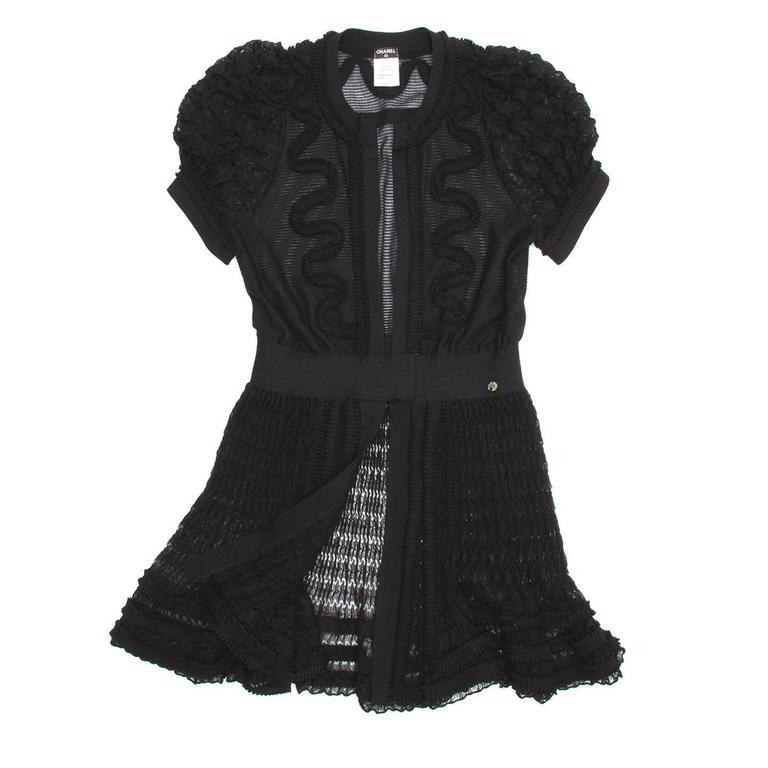 Chanel Black Knit Open Front Coat Dress 2