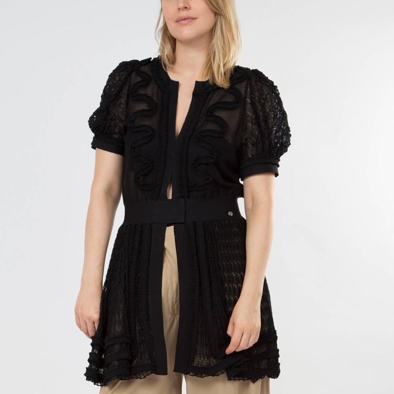 Chanel Black Knit Open Front Coat Dress 6